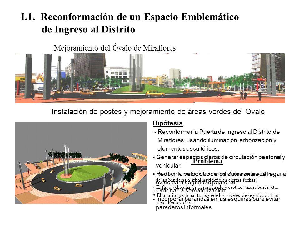I.1. Reconformación de un Espacio Emblemático de Ingreso al Distrito Mejoramiento del Óvalo de Miraflores Problema No existe un espacio urbano articul