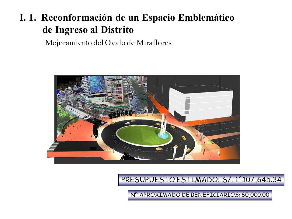 I. 1. Reconformación de un Espacio Emblemático de Ingreso al Distrito Mejoramiento del Óvalo de Miraflores PRESUPUESTO ESTIMADO: S/. 1´107,645.34 Nº A