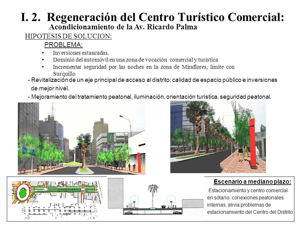 I. 2. Regeneración del Centro Turístico Comercial: Acondicionamiento de la Av. Ricardo Palma Inversiones estancadas. Dominio del automóvil en una zona