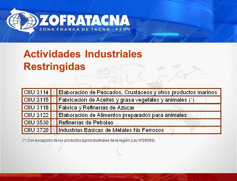 Actividades Industriales Restringidas (*) Con excepción de los productos agroindustriales de la región (Ley Nº28599).