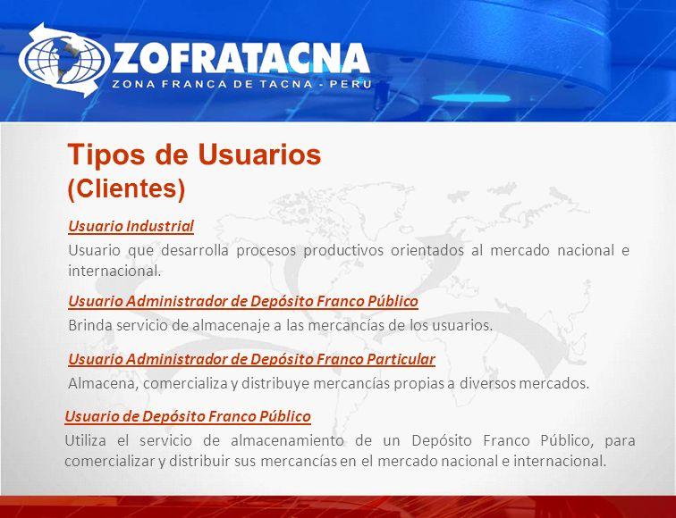 Tipos de Usuarios (Clientes) Usuario Administrador de Depósito Franco Público Brinda servicio de almacenaje a las mercancías de los usuarios.