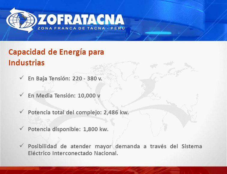 En Baja Tensión: 220 - 380 v. En Media Tensión: 10,000 v Potencia total del complejo: 2,486 kw. Potencia disponible: 1,800 kw. Posibilidad de atender