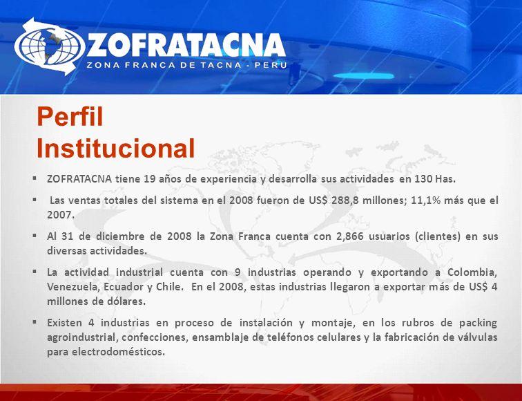 Perfil Institucional ZOFRATACNA tiene 19 años de experiencia y desarrolla sus actividades en 130 Has. Las ventas totales del sistema en el 2008 fueron