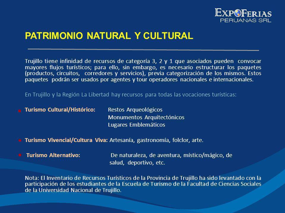Trujillo tiene infinidad de recursos de categoría 3, 2 y 1 que asociados pueden convocar mayores flujos turísticos; para ello, sin embargo, es necesar