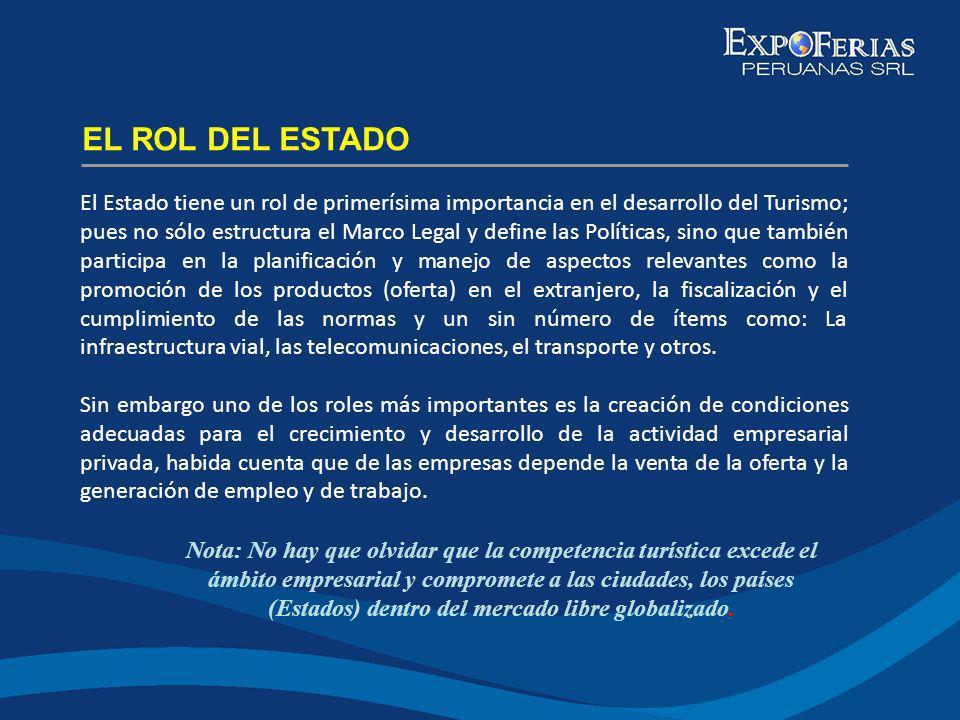 El Estado tiene un rol de primerísima importancia en el desarrollo del Turismo; pues no sólo estructura el Marco Legal y define las Políticas, sino qu