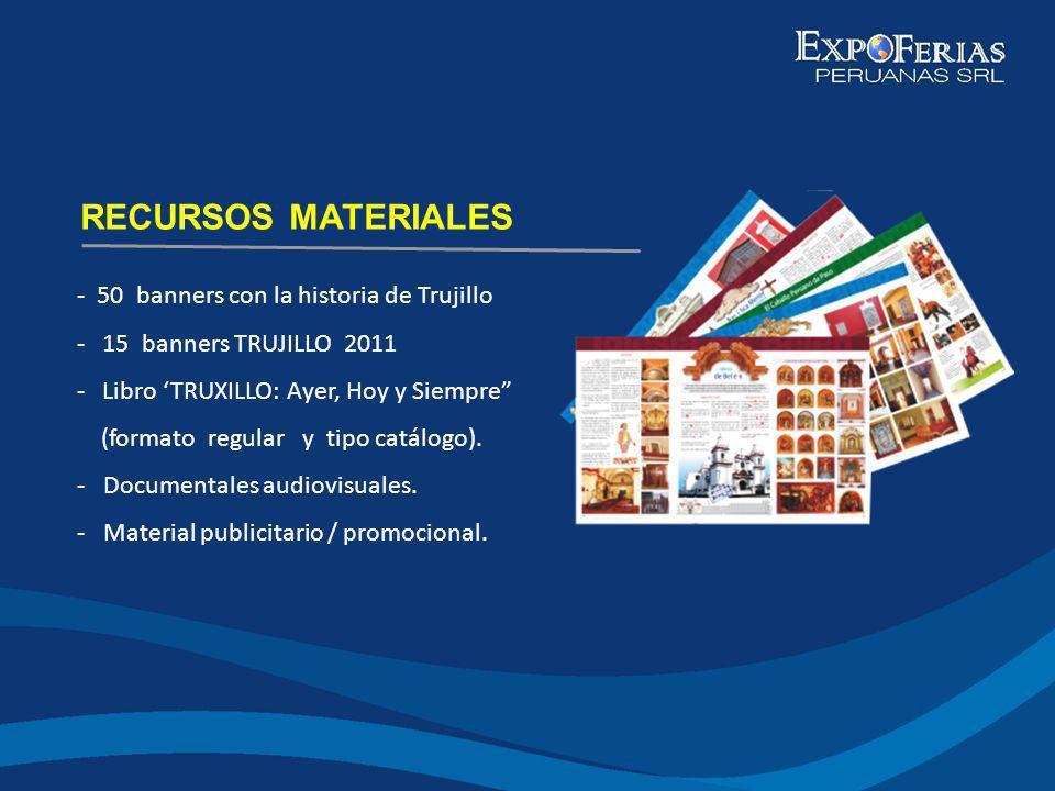 - 50 banners con la historia de Trujillo - 15 banners TRUJILLO 2011 - Libro TRUXILLO: Ayer, Hoy y Siempre (formato regular y tipo catálogo). - Documen