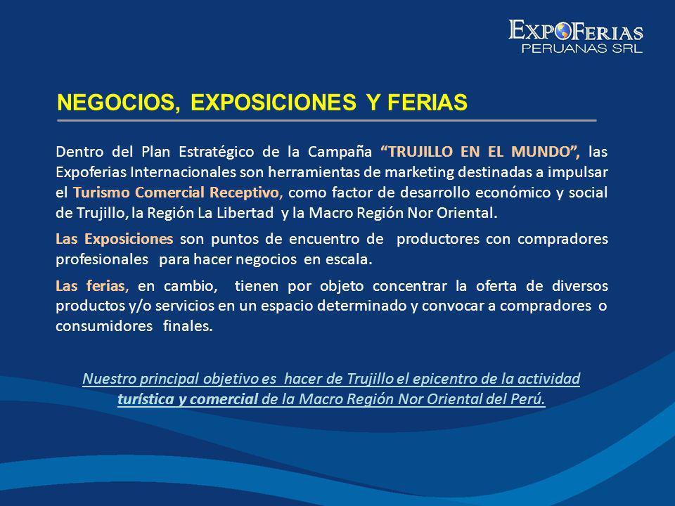 Dentro del Plan Estratégico de la Campaña TRUJILLO EN EL MUNDO, las Expoferias Internacionales son herramientas de marketing destinadas a impulsar el