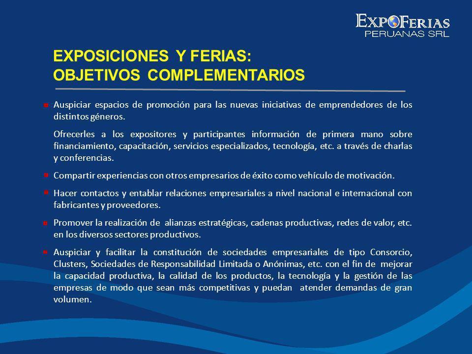 EXPOSICIONES Y FERIAS: OBJETIVOS COMPLEMENTARIOS Auspiciar espacios de promoción para las nuevas iniciativas de emprendedores de los distintos géneros