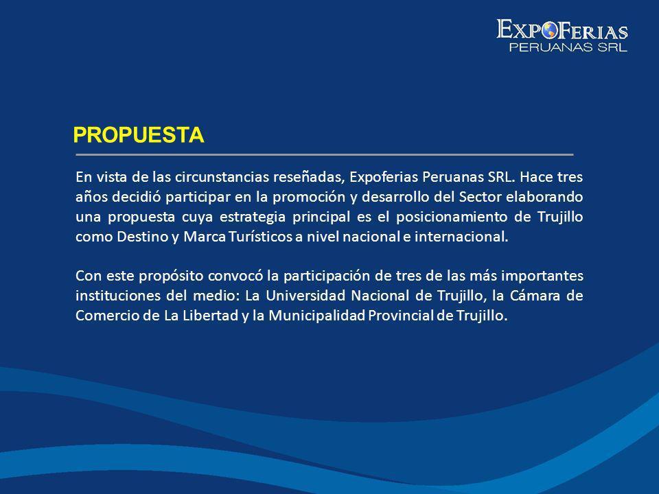 En vista de las circunstancias reseñadas, Expoferias Peruanas SRL. Hace tres años decidió participar en la promoción y desarrollo del Sector elaborand