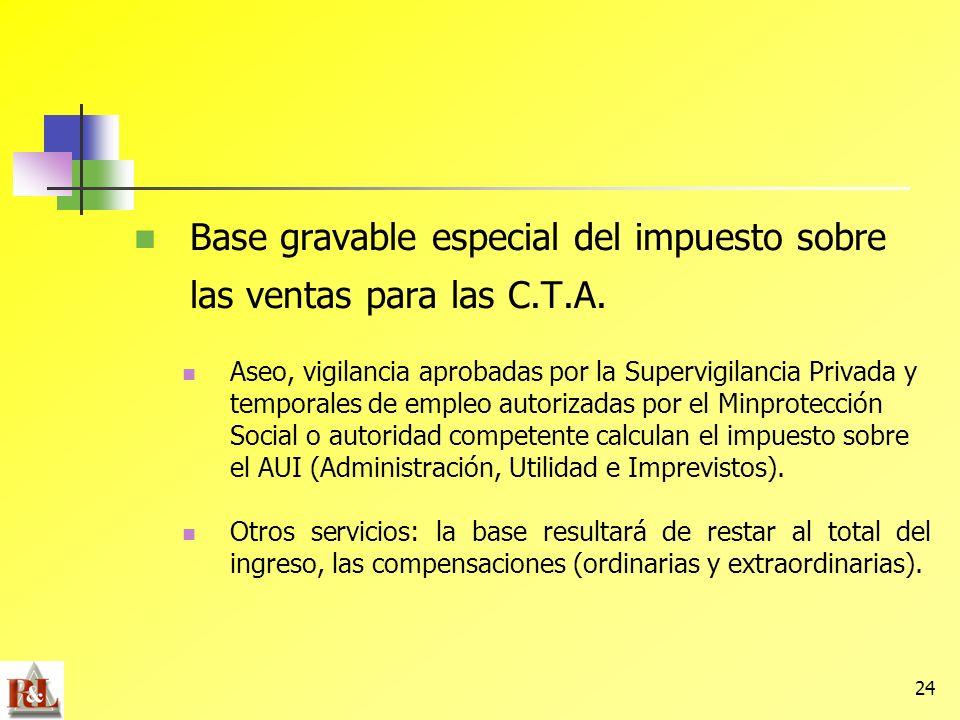 24 Base gravable especial del impuesto sobre las ventas para las C.T.A. Aseo, vigilancia aprobadas por la Supervigilancia Privada y temporales de empl
