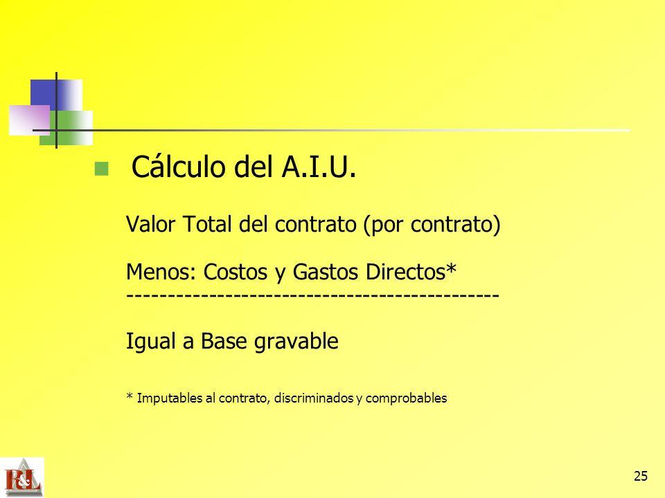 25 Cálculo del A.I.U. Valor Total del contrato (por contrato) Menos: Costos y Gastos Directos* ---------------------------------------------- Igual a