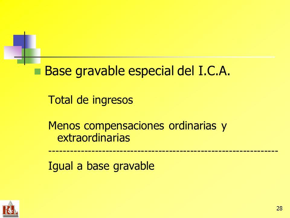 28 Base gravable especial del I.C.A. Total de ingresos Menos compensaciones ordinarias y extraordinarias ---------------------------------------------