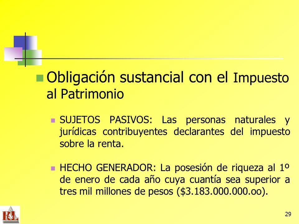 29 Obligación sustancial con el Impuesto al Patrimonio SUJETOS PASIVOS: Las personas naturales y jurídicas contribuyentes declarantes del impuesto sob