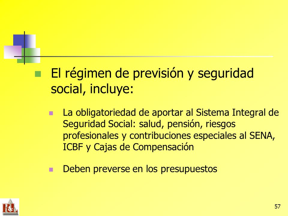 57 El régimen de previsión y seguridad social, incluye: La obligatoriedad de aportar al Sistema Integral de Seguridad Social: salud, pensión, riesgos