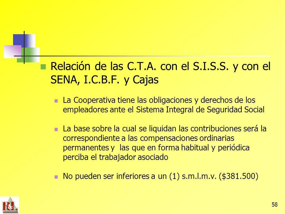 58 Relación de las C.T.A. con el S.I.S.S. y con el SENA, I.C.B.F. y Cajas La Cooperativa tiene las obligaciones y derechos de los empleadores ante el