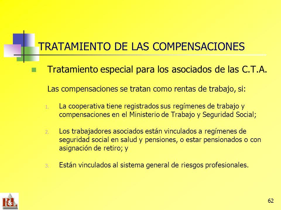 62 Tratamiento especial para los asociados de las C.T.A. Las compensaciones se tratan como rentas de trabajo, si: 1. La cooperativa tiene registrados