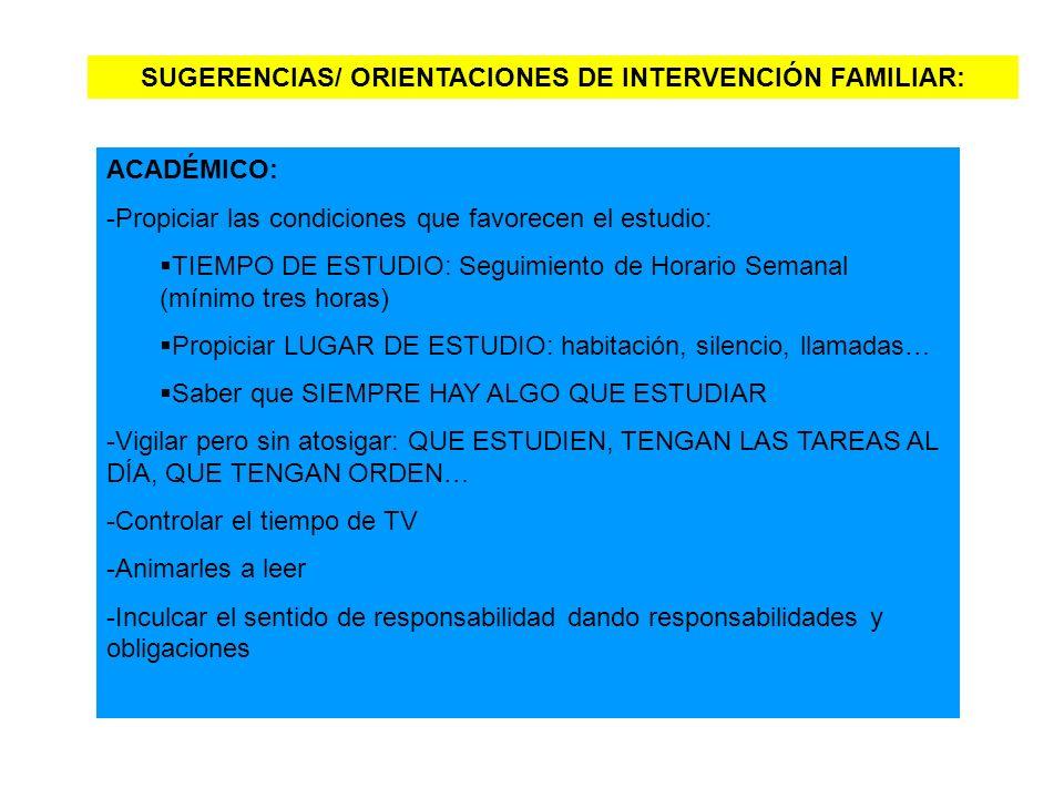 SUGERENCIAS/ ORIENTACIONES DE INTERVENCIÓN FAMILIAR: ACADÉMICO: -Propiciar las condiciones que favorecen el estudio: TIEMPO DE ESTUDIO: Seguimiento de