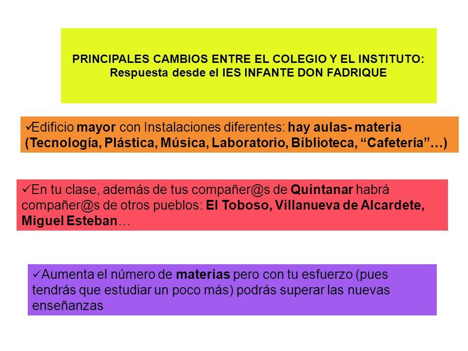 PRINCIPALES CAMBIOS ENTRE EL COLEGIO Y EL INSTITUTO: Respuesta desde el IES INFANTE DON FADRIQUE Edificio mayor con Instalaciones diferentes: hay aula