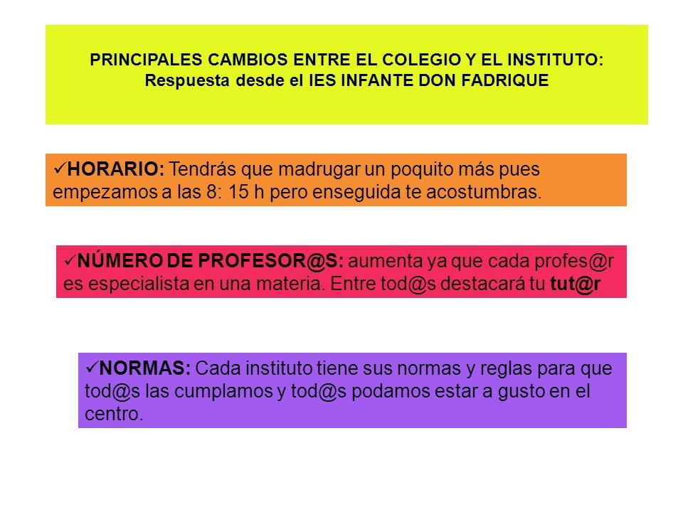 PRINCIPALES CAMBIOS ENTRE EL COLEGIO Y EL INSTITUTO: Respuesta desde el IES INFANTE DON FADRIQUE HORARIO: Tendrás que madrugar un poquito más pues emp