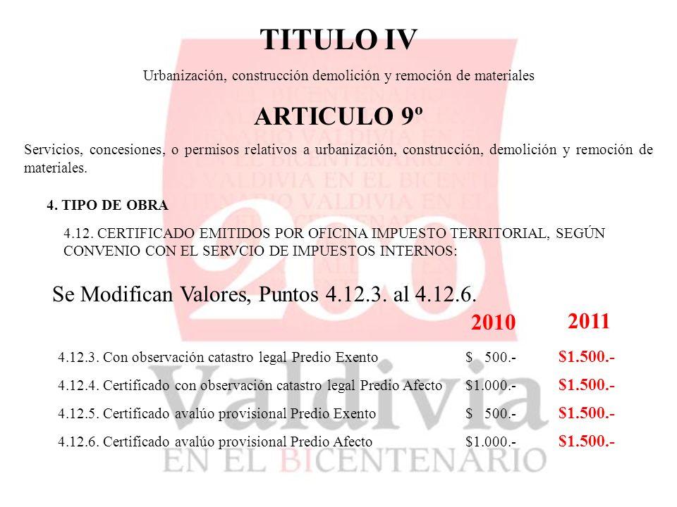 TITULO IV Urbanización, construcción demolición y remoción de materiales ARTICULO 9º Servicios, concesiones, o permisos relativos a urbanización, construcción, demolición y remoción de materiales.