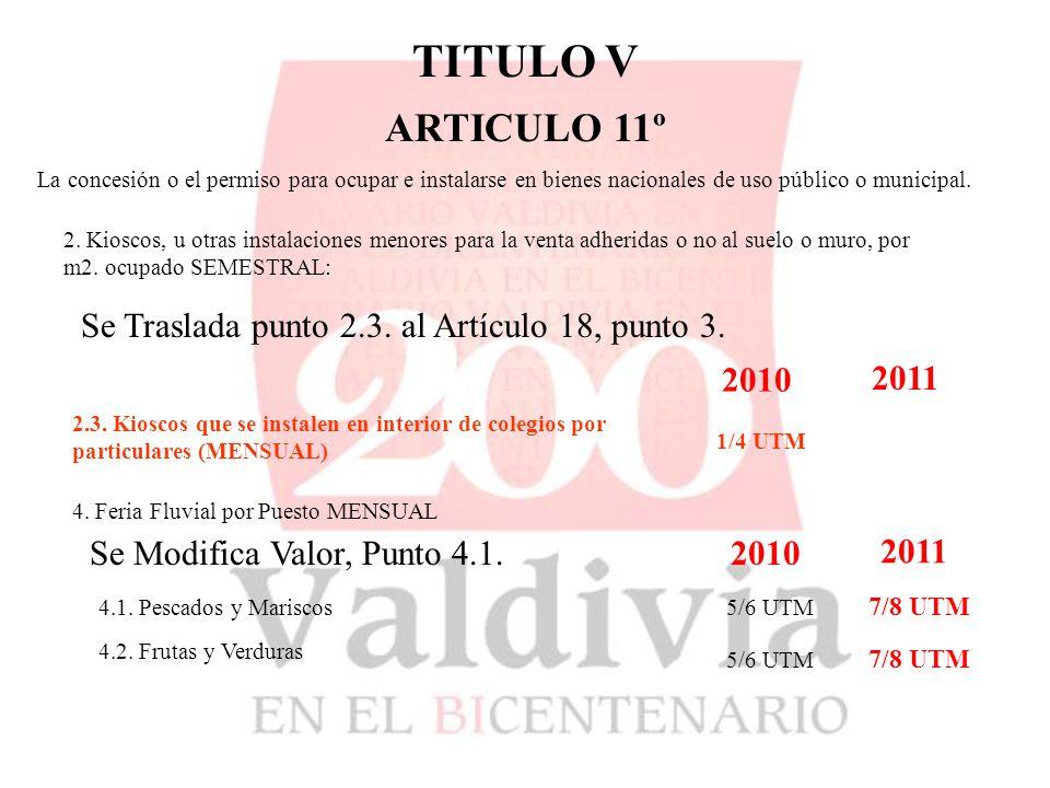 TITULO V ARTICULO 11º La concesión o el permiso para ocupar e instalarse en bienes nacionales de uso público o municipal.