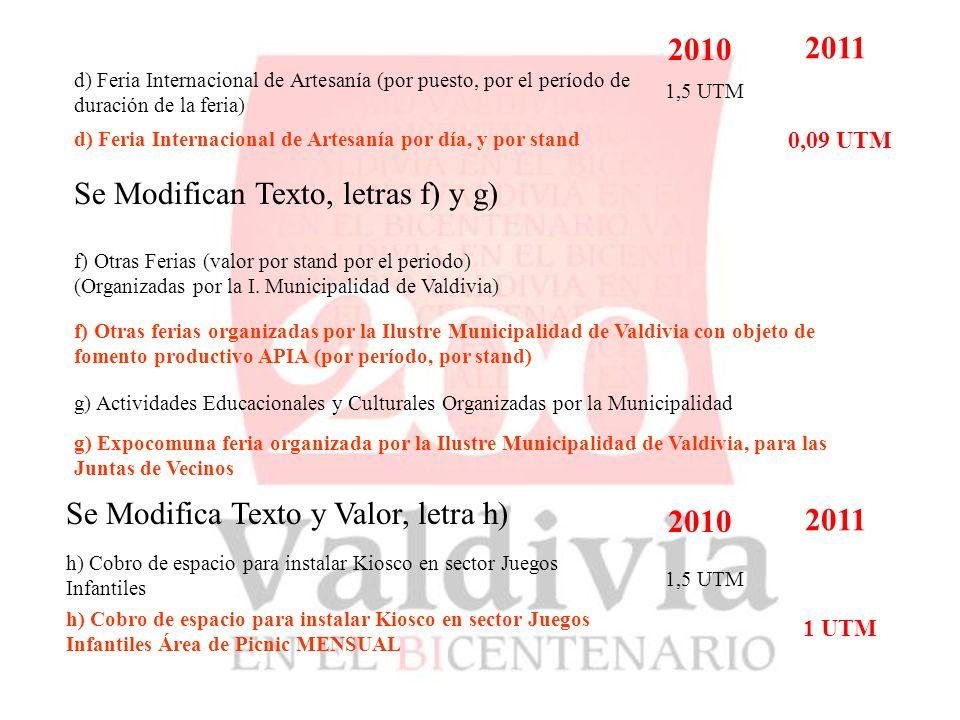 d) Feria Internacional de Artesanía (por puesto, por el período de duración de la feria) 2010 2011 d) Feria Internacional de Artesanía por día, y por stand 1,5 UTM 0,09 UTM Se Modifican Texto, letras f) y g) f) Otras Ferias (valor por stand por el periodo) (Organizadas por la I.
