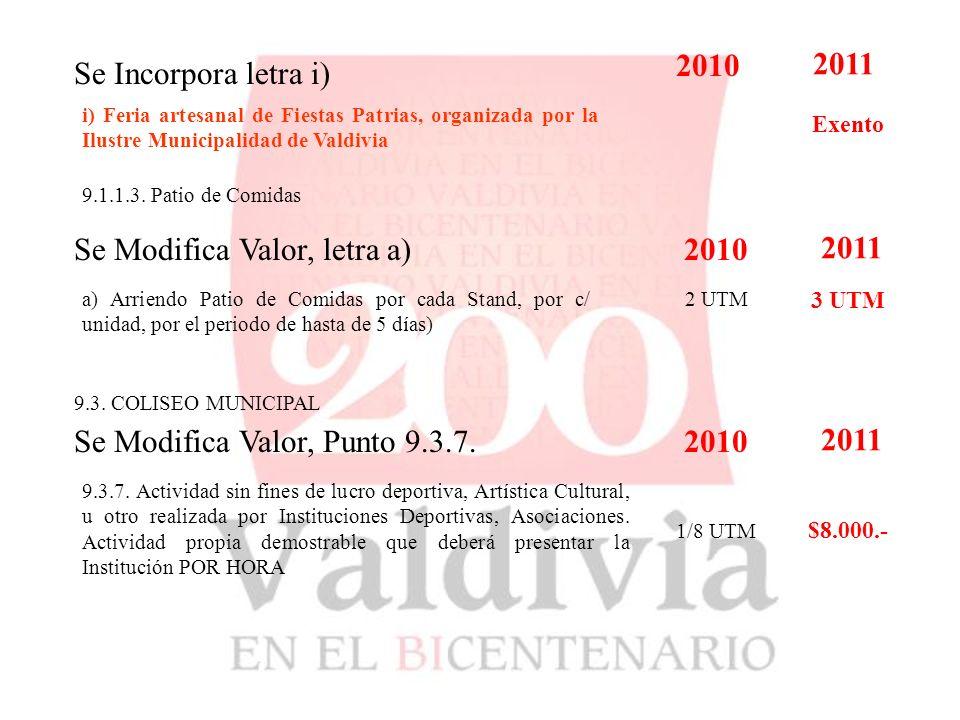 Se Incorpora letra i) i) Feria artesanal de Fiestas Patrias, organizada por la Ilustre Municipalidad de Valdivia 2010 2011 Exento 9.1.1.3.