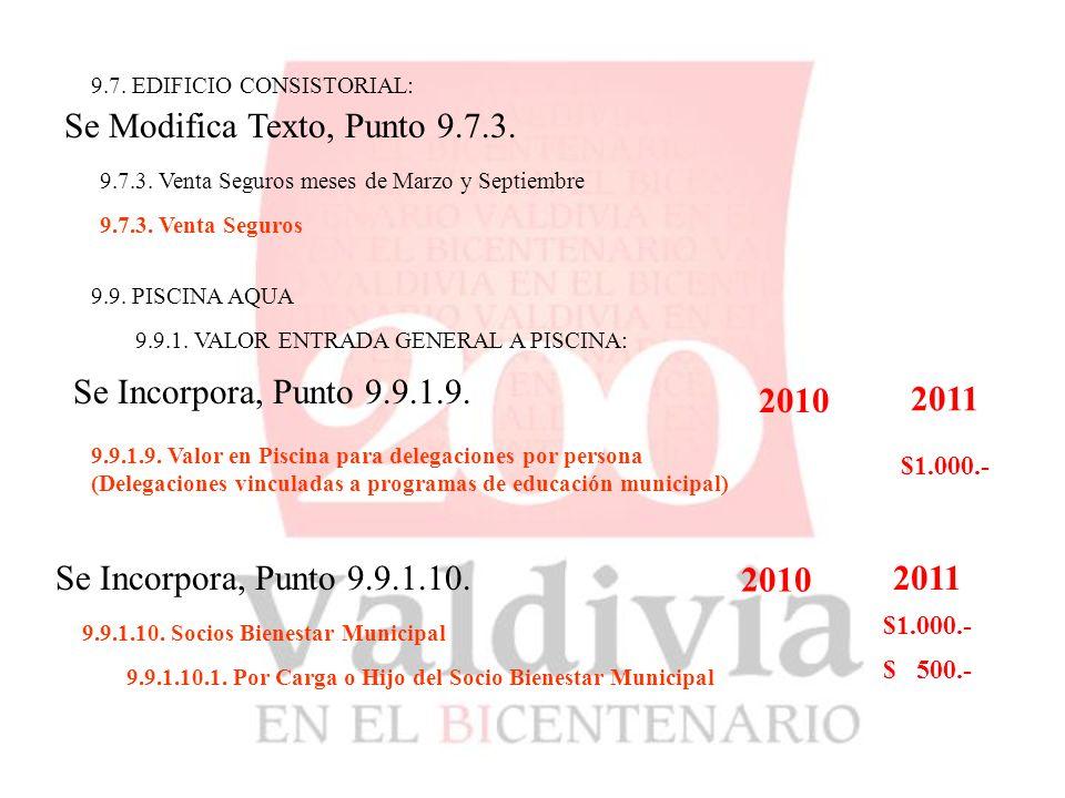 9.7. EDIFICIO CONSISTORIAL: Se Modifica Texto, Punto 9.7.3.