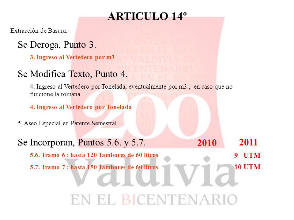 ARTICULO 14º Extracción de Basura: Se Deroga, Punto 3.