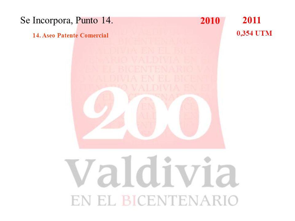 Se Incorpora, Punto 14. 14. Aseo Patente Comercial 2010 2011 0,354 UTM