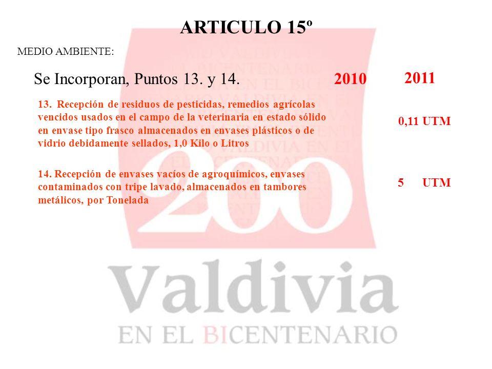 ARTICULO 15º MEDIO AMBIENTE: Se Incorporan, Puntos 13.