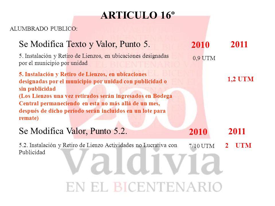 ARTICULO 16º ALUMBRADO PUBLICO: Se Modifica Texto y Valor, Punto 5.