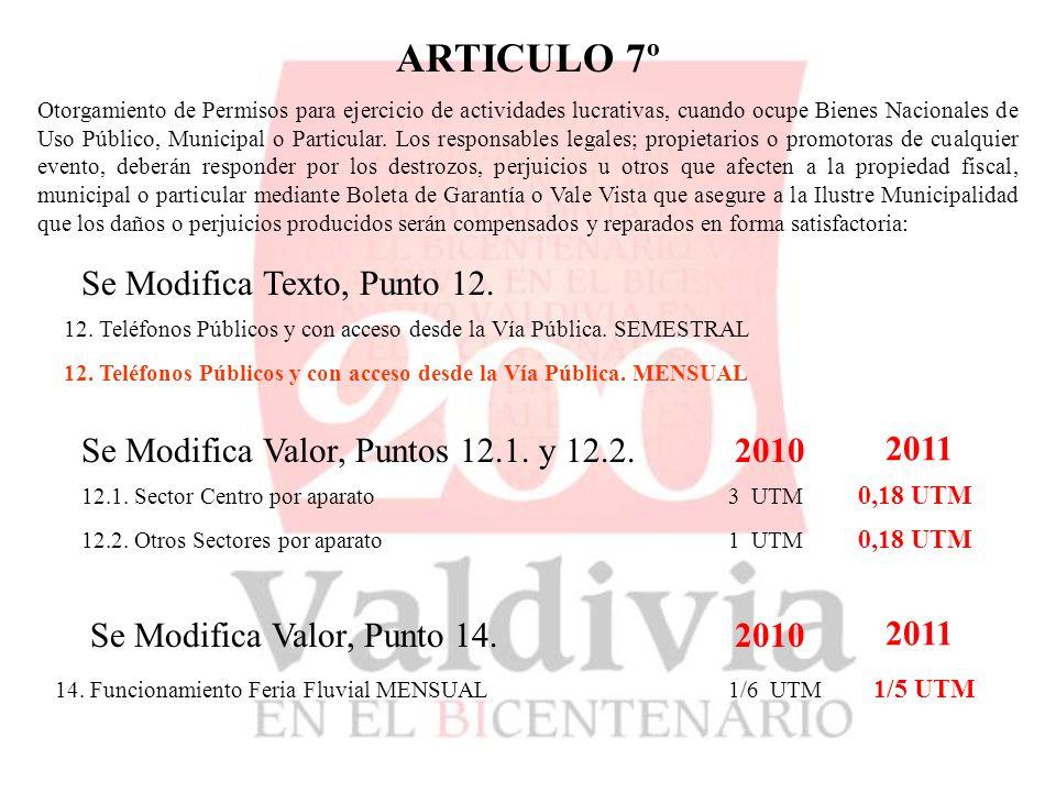 ARTICULO 7º Otorgamiento de Permisos para ejercicio de actividades lucrativas, cuando ocupe Bienes Nacionales de Uso Público, Municipal o Particular.