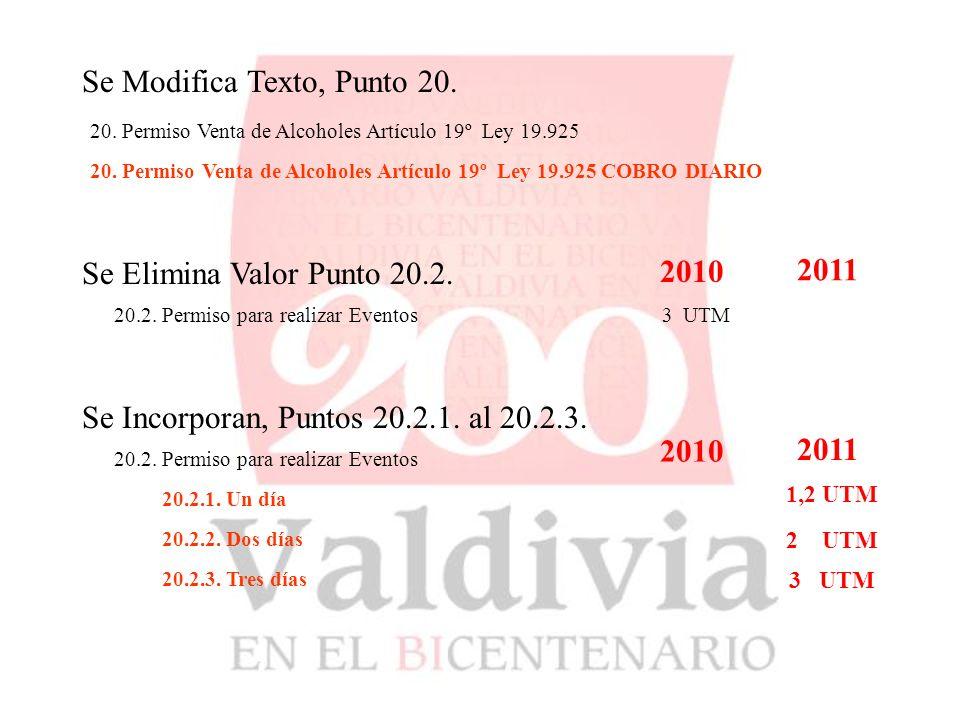 9.4.DERECHOS DE CONSTRUCCION Se modifican Valores2010 2011 9.4.1.