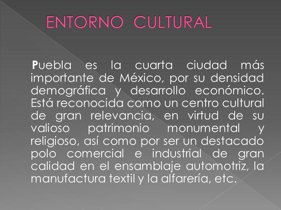 P uebla es la cuarta ciudad más importante de México, por su densidad demográfica y desarrollo económico. Está reconocida como un centro cultural de g