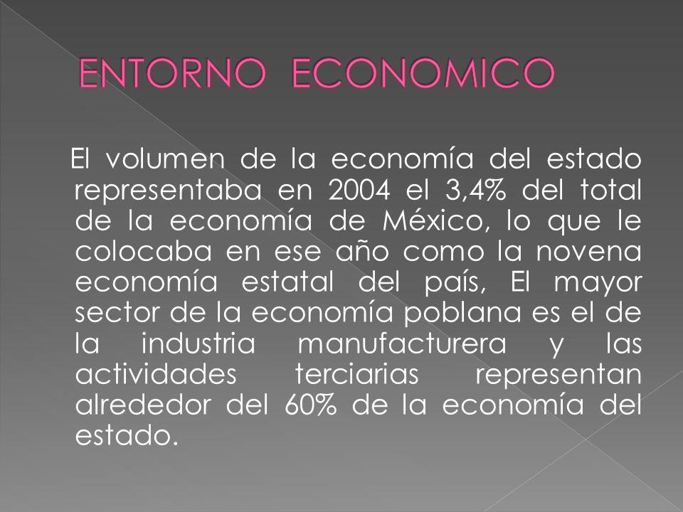 El volumen de la economía del estado representaba en 2004 el 3,4% del total de la economía de México, lo que le colocaba en ese año como la novena economía estatal del país, El mayor sector de la economía poblana es el de la industria manufacturera y las actividades terciarias representan alrededor del 60% de la economía del estado.