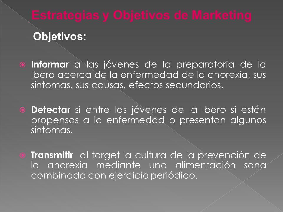 Informar a las jóvenes de la preparatoria de la Ibero acerca de la enfermedad de la anorexia, sus síntomas, sus causas, efectos secundarios. Detectar