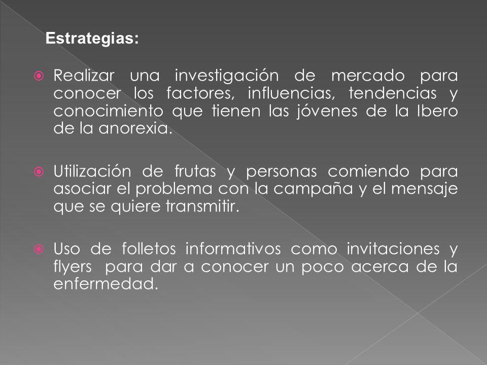 Realizar una investigación de mercado para conocer los factores, influencias, tendencias y conocimiento que tienen las jóvenes de la Ibero de la anorexia.