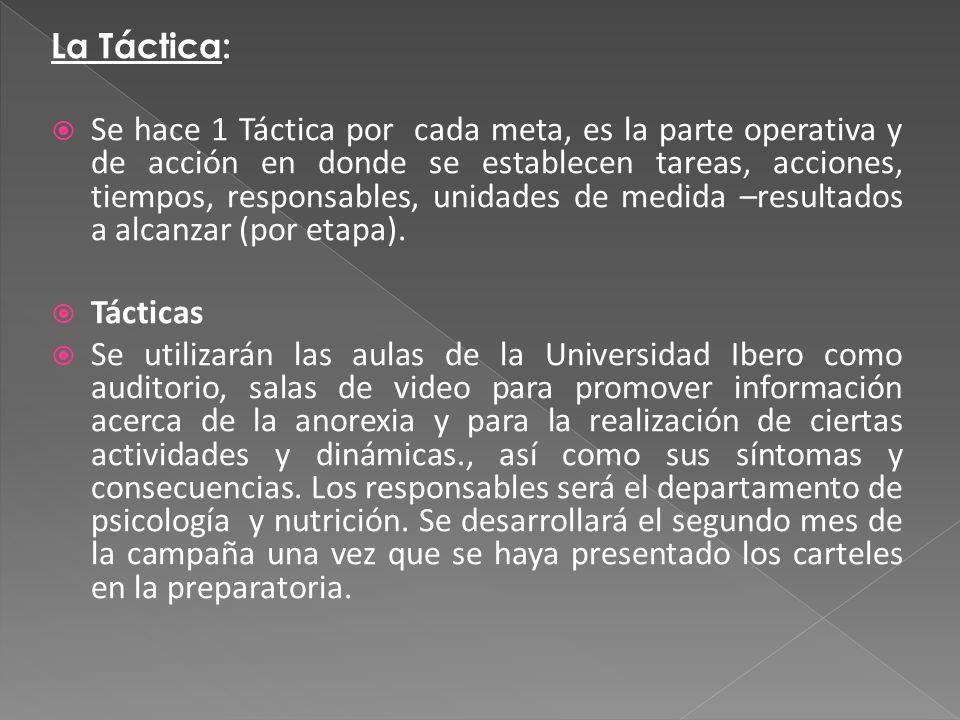 La Táctica: Se hace 1 Táctica por cada meta, es la parte operativa y de acción en donde se establecen tareas, acciones, tiempos, responsables, unidades de medida –resultados a alcanzar (por etapa).