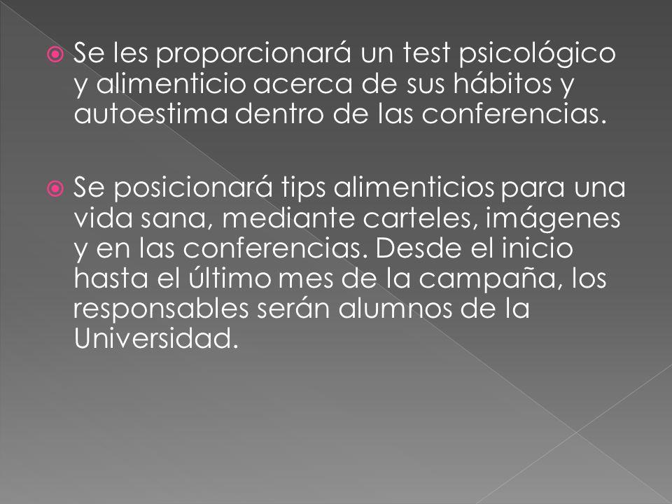 Se les proporcionará un test psicológico y alimenticio acerca de sus hábitos y autoestima dentro de las conferencias.
