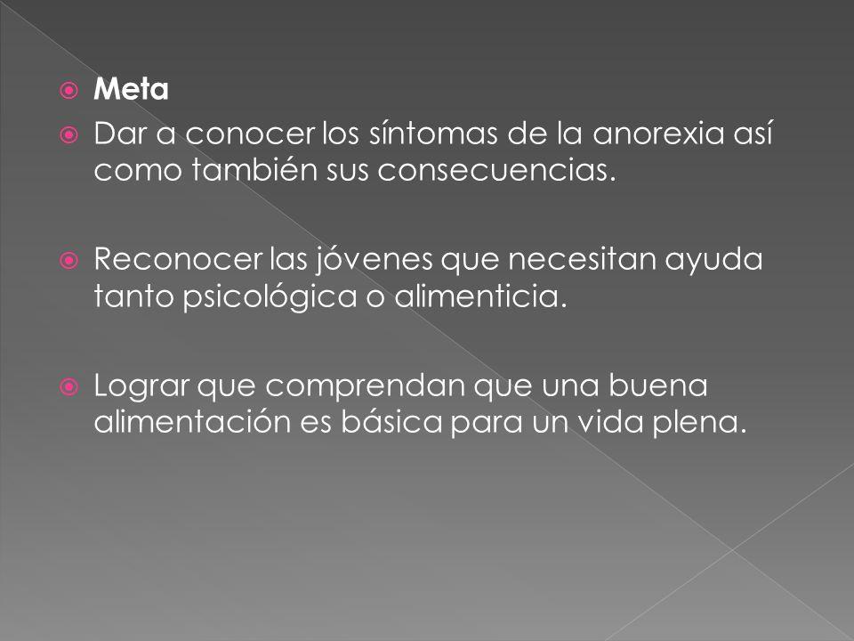 Meta Dar a conocer los síntomas de la anorexia así como también sus consecuencias. Reconocer las jóvenes que necesitan ayuda tanto psicológica o alime