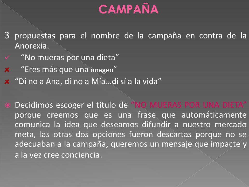 3 propuestas para el nombre de la campaña en contra de la Anorexia.