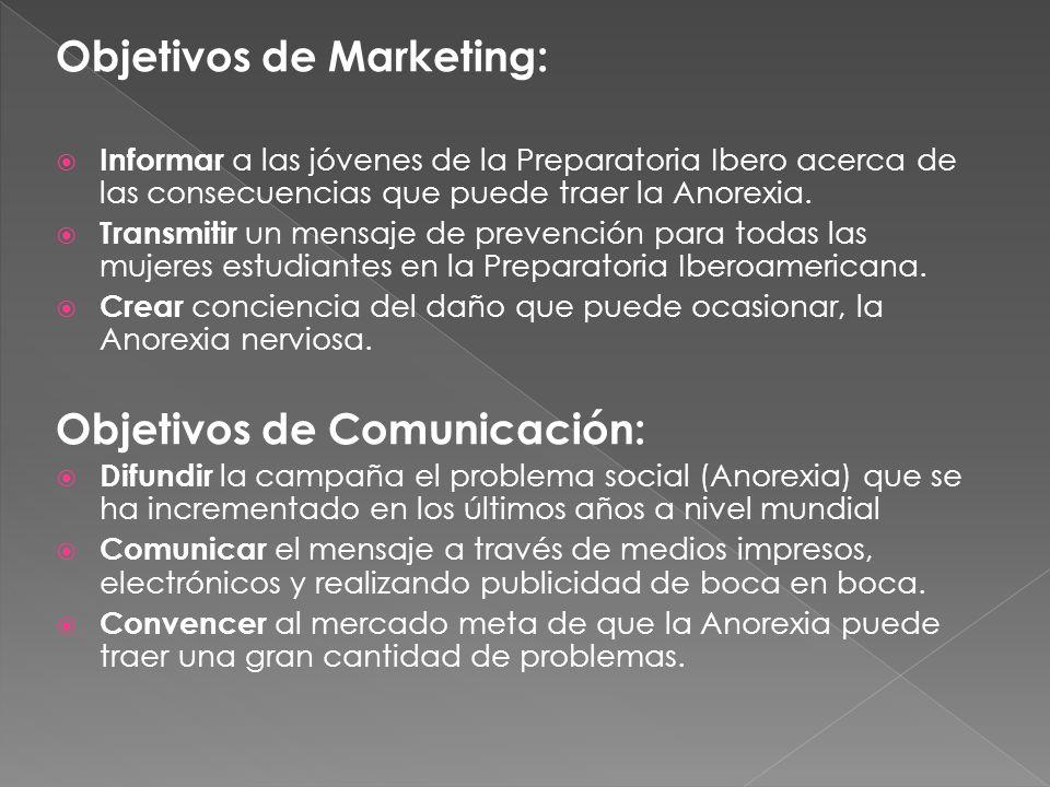 Objetivos de Marketing: Informar a las jóvenes de la Preparatoria Ibero acerca de las consecuencias que puede traer la Anorexia. Transmitir un mensaje