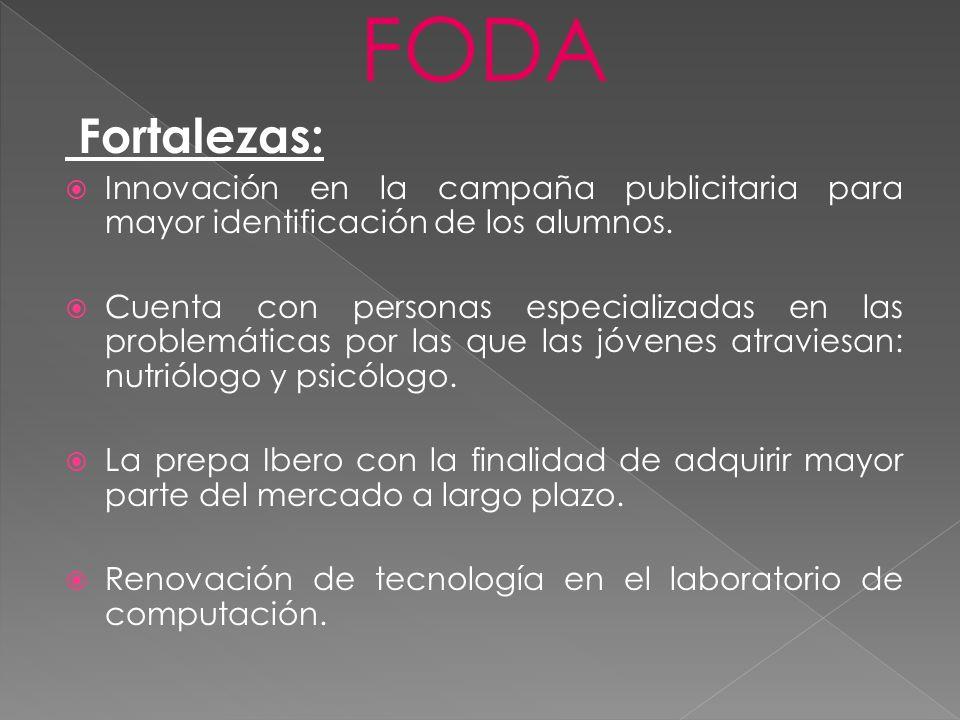 FODA Fortalezas: Innovación en la campaña publicitaria para mayor identificación de los alumnos. Cuenta con personas especializadas en las problemátic
