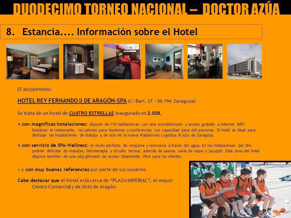 8. Estancia.... Información sobre el Hotel IX Torneo Nacional Claudio García Ucero – CEIP DOCTOR AZÚA El alojamiento: HOTEL REY FERNANDO II DE ARAGÓN-
