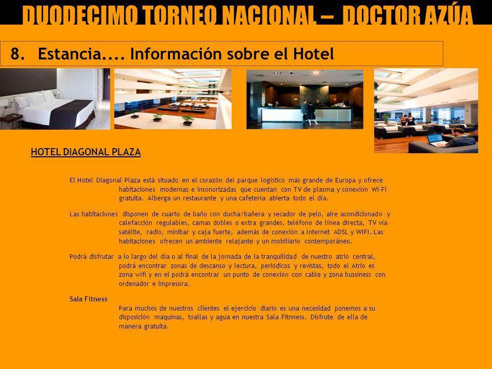 8. Estancia.... Información sobre el Hotel IX Torneo Nacional Claudio García Ucero – CEIP DOCTOR AZÚA HOTEL DIAGONAL PLAZA DUODECIMO TORNEO NACIONAL –