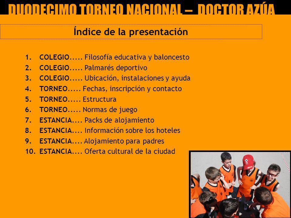 1. COLEGIO..... Filosofía educativa y baloncesto 2. COLEGIO..... Palmarés deportivo 3.COLEGIO..... Ubicación, instalaciones y ayuda 4.TORNEO..... Fech