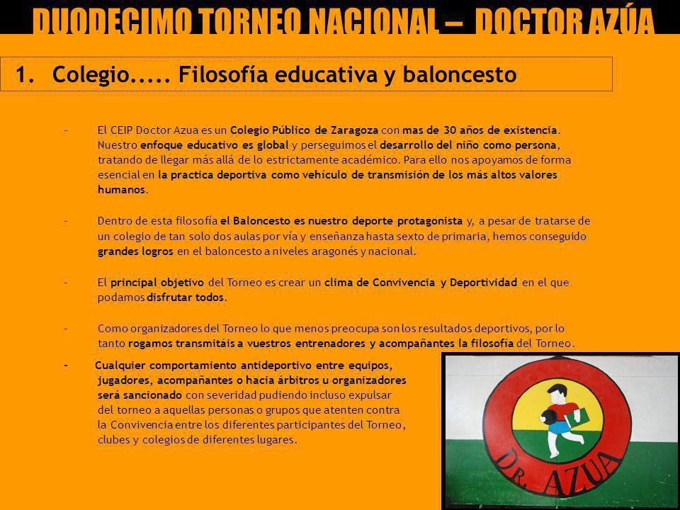 1. Colegio..... Filosofía educativa y baloncesto –El CEIP Doctor Azua es un Colegio Público de Zaragoza con mas de 30 años de existencia. Nuestro enfo