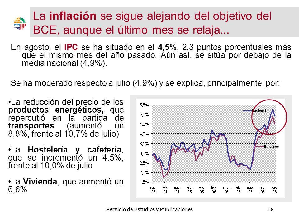 18 En agosto, el IPC se ha situado en el 4,5%, 2,3 puntos porcentuales más que el mismo mes del año pasado.