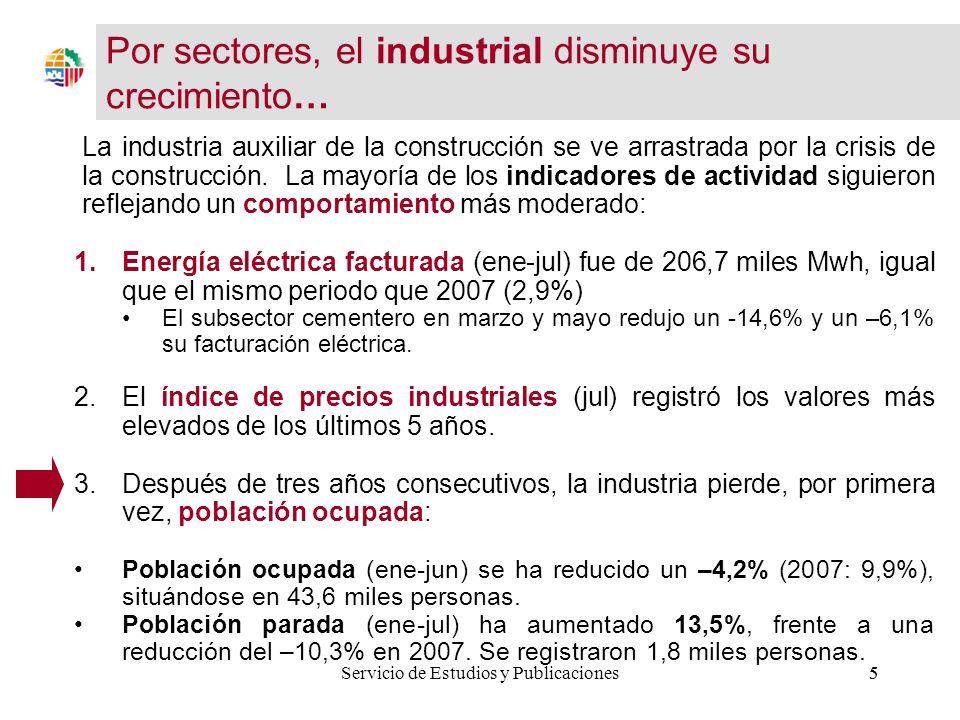 6Servicio de Estudios y Publicaciones6 3.Índice Producción Industrial (ene-jun) decreció un -0,4%, frente al aumento del 3,5% en 2007.